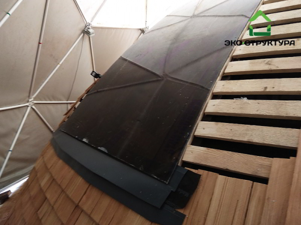 Окно на куполе из оргстекла. Изготовление нижнего фартука