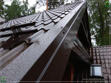 Торец крыши из металлочерепицы